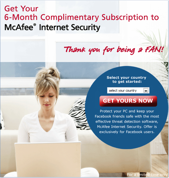 McAfee Internet Security Suite gratis per gli utenti Facebook